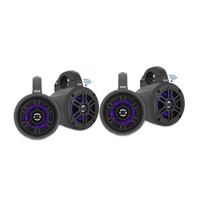 Pyle PLMRLEWB47BB 4 Inch 300 Watt Bluetooth Wireless Streaming Waterproof Marine Grade Tower Speaker System with Built In LED Lights, Black (4 Pack)