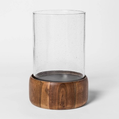 10  x 7.2  Wood and Glass Hurricane Pillar Candle Holder Brown - Smith & Hawken™