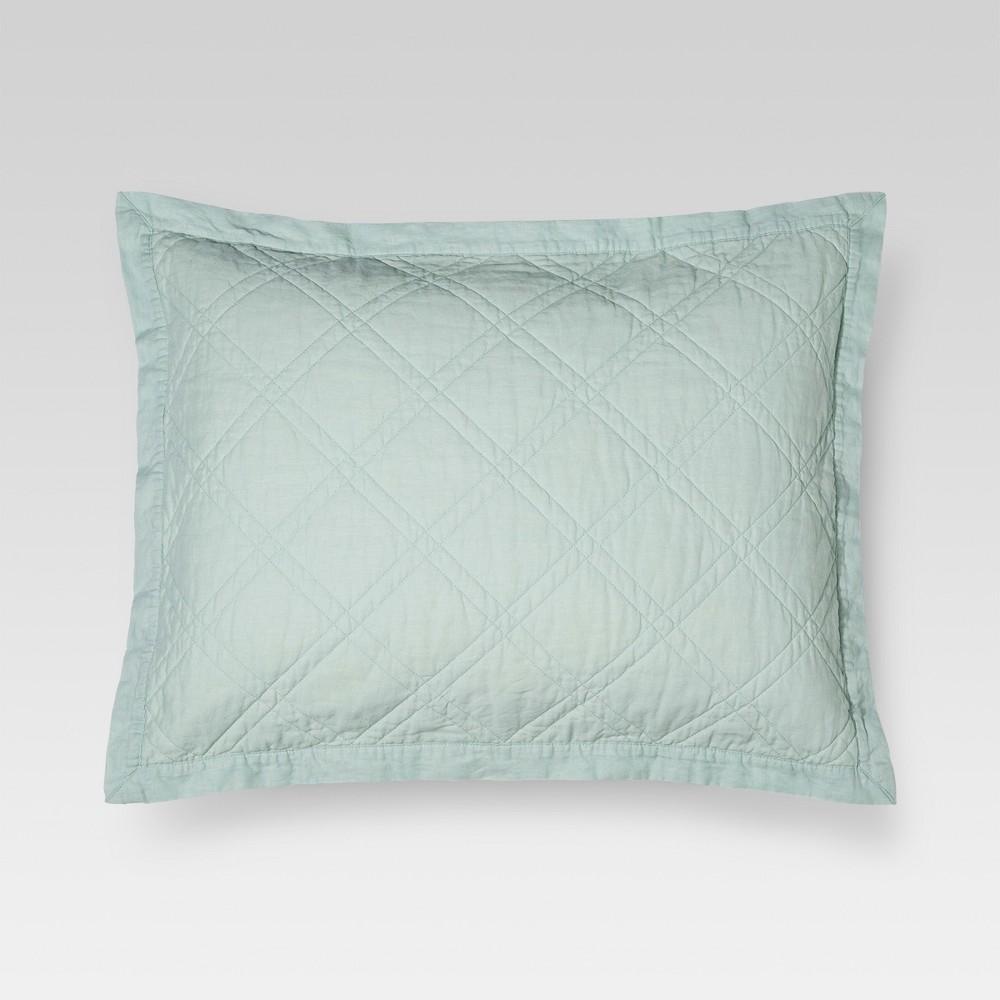 Best Discount Mint Green Linen Quilted Sham Standard Threshold