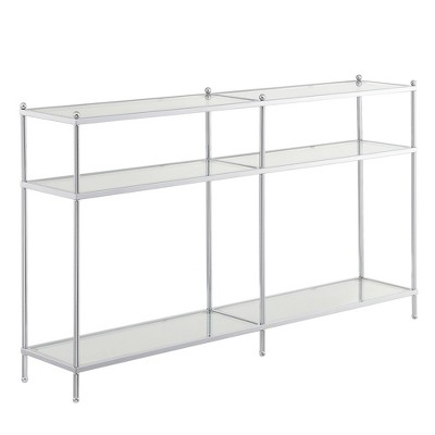 """54"""" Royal Crest 3 Tier Glass Console Table Clear Glass/Chrome - Breighton Home"""