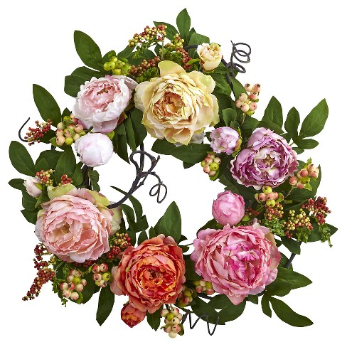 Mixed Peony and Berry Wreath - Assorted (20'') - image 1 of 1