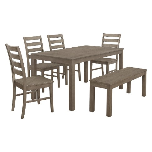 Adelaide Wood Dining Set Aged Gray
