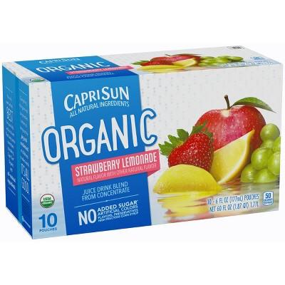 Capri Sun Organic Strawberry Lemonade - 10pk/6 fl oz Pouches