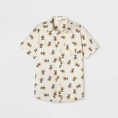Men's Mickey Mouse Short Sleeve Button Down Shirt   Cream by Down Shirt