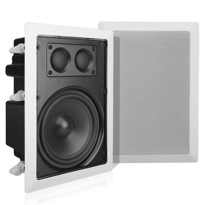 Pyle Home PDIW67 6.5 Inch 360 Watt 2 Way Enclosed Square In Wall/Ceiling Flush Mounted Stereo Speaker Pair, White/Black