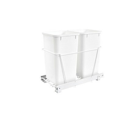 Rev-A-Shelf RV-15PB-2 S Double 27-Quart Chrome Wire Bottom Mount Pullout Kitchen Waste Trash Can Container Bin with Full-Extension Slides, White