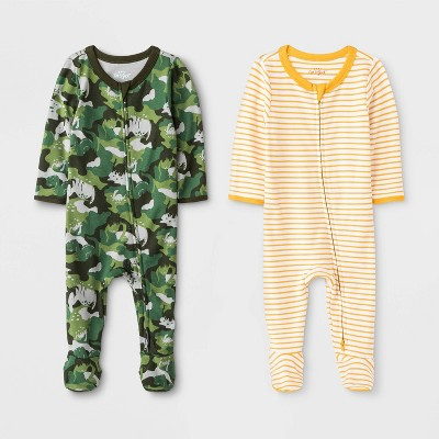 Baby Boys' Camo Critter And Striped Pajama Romper - Cat & Jack™ Yellow/Green 6M
