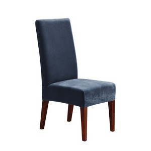 Stretch Pique Short Dining Room Chair Slipcover Navy - Sure Fit, Blue