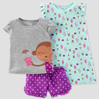 Toddler Girls' 3pc Ice Cream Monkey Pajama Set - Just One You® made by carter's Aqua 2T
