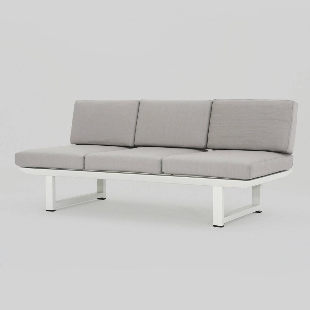 Bronte Aluminum Patio Sofa - White - Christopher Knight Home