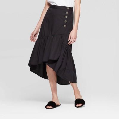 Women's Low Wrap Midi A Line Skirt   Who What Wear Black by Who What Wear Black