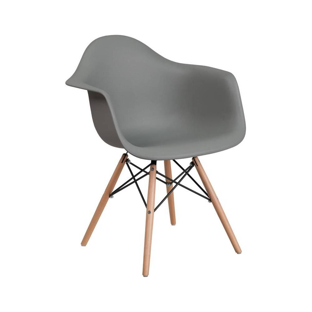 Image of Alonza Series Plastic Chair with Arms and Wooden Legs Moss Gray - Riverstone Furniture Collection
