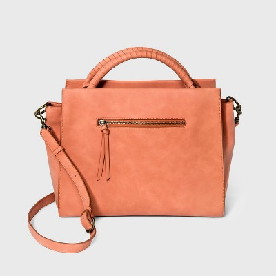 Wrapped Handle Soft Satchel Handbag - Universal Thread™ Coral