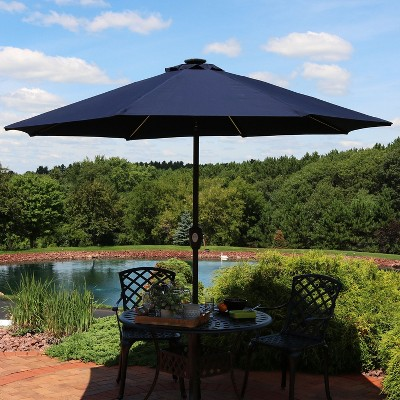 Aluminum Solar Sunbrella Market Tilt Patio Umbrella 9u0027   Navy Blue    Sunnydaze Decor : Target