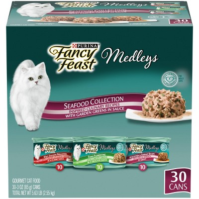 Fancy Feast Medleys Seafood Collection with Garden Greens in Sauce Gourmet Wet Cat Food - 3oz/30ct Variety Pack