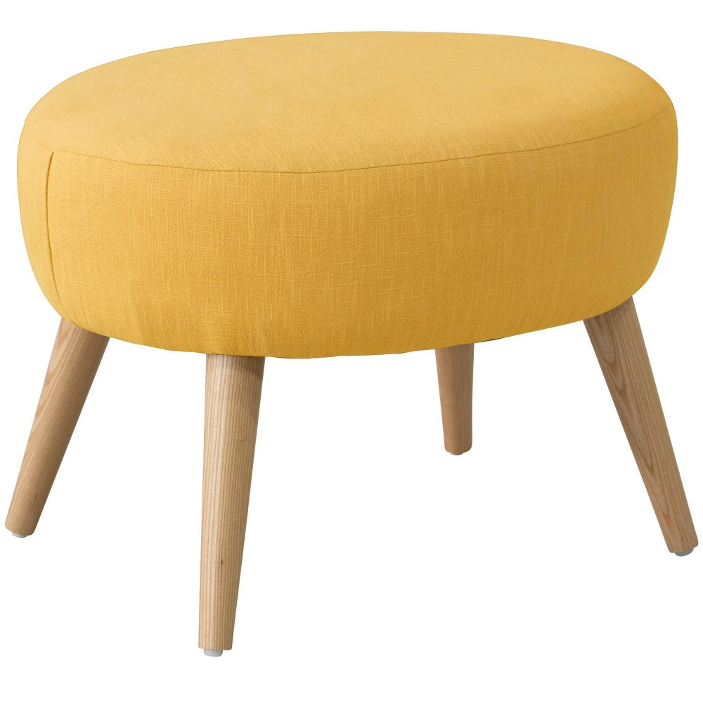 Oval Ottoman Linen French Yellow Skyline Furniture