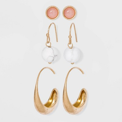 Semi-Precious White Howlite and Rose Quartz with Worn Gold Earring Set 3pc - Universal Thread™ Gold