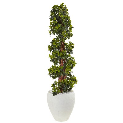 4ft English Ivy Topiary Artificial Tree In White Oval Planter - Nearly Natural