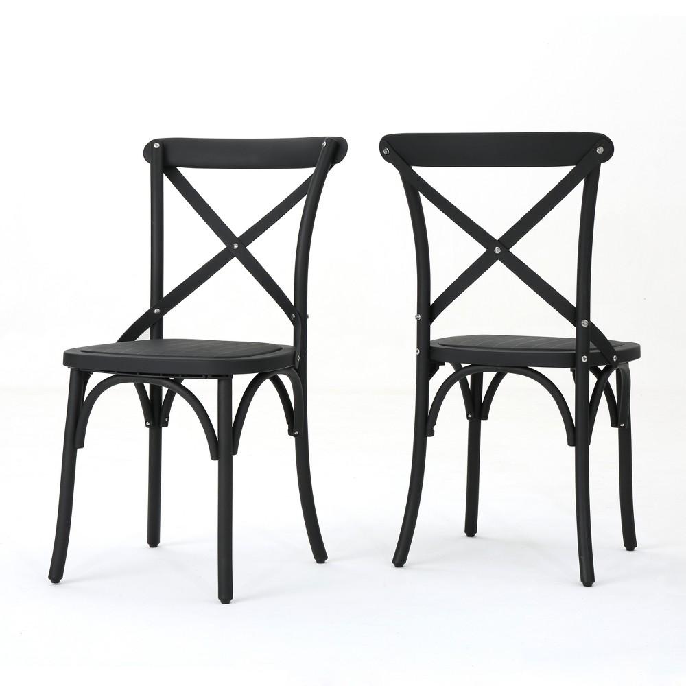 Danish 2pk Plastic Nylon Dining Chairs Classical Black Christopher Knight Home