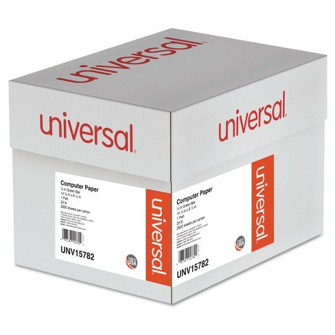 "Universal® Green Bar Computer Paper, 20lb, 15 x 8.5"", Perforated Margins - 2600 Sheets - image 1 of 1"