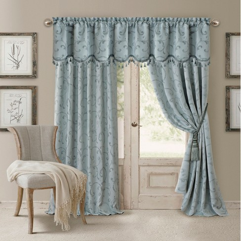Mia Jacquard Scroll Blackout Window Curtain Panel - Elrene Home Fashions - image 1 of 4