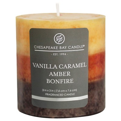 3  x 3  Layered Pillar Candle Vanilla Caramel/Amber/Bonfire - Chesapeake Bay Candle