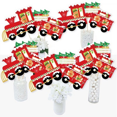 Big Dot of Happiness Christmas Train - Holiday Party Centerpiece Sticks - Table Toppers - Set of 15
