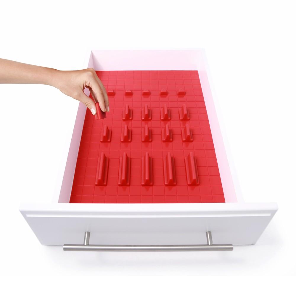 Image of Drawer Decor 21pc Customizable Drawer Organizer Red