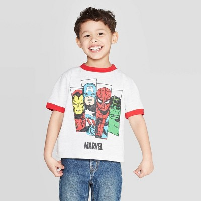 Toddler Boys' White Ringer Marvel Avengers T-Shirt - Red 12M