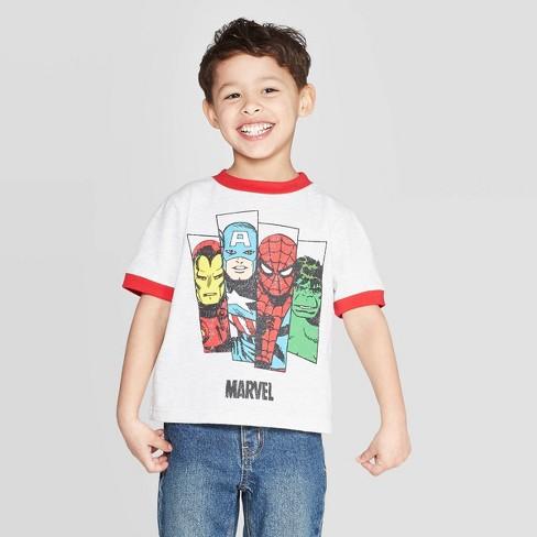 Toddler Boys' White Ringer Marvel T-Shirt - Red - image 1 of 3