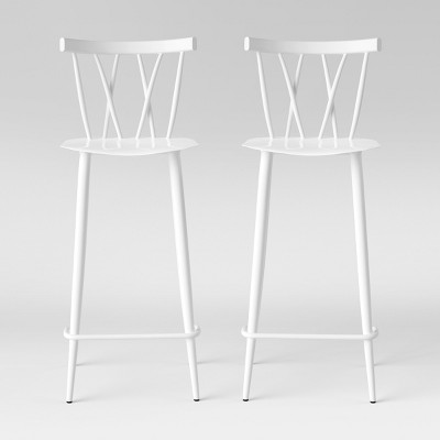 Set of 2 Becket Metal X Back Barstool White - Project 62™
