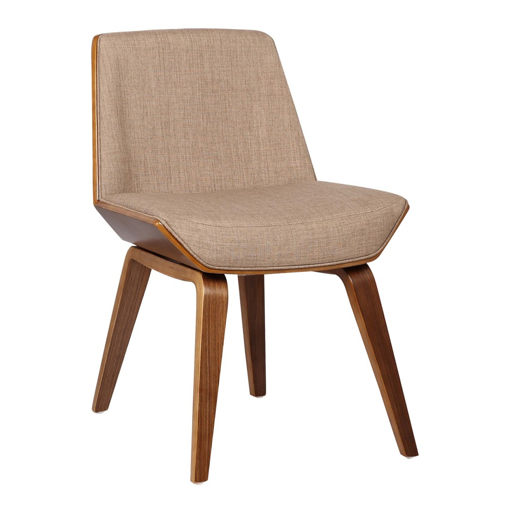 Image of Agi Mid-Century Dining Chair in Walnut Wood and Beige Fabric - Armen Living