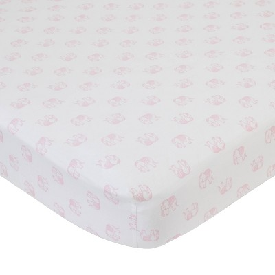 NoJo Serendipity Pink Elephant Print Cotton Fitted Crib Sheet