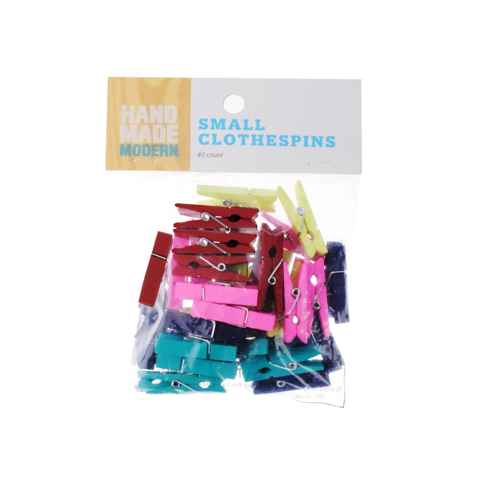 Small Clothespins 40ct Multicolor - Hand Made Modern, Multi-Colored