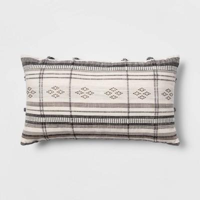 "14""x24"" Oversized Global Striped Lumbar Throw Pillow with Cording Black/Cream - Opalhouse™"