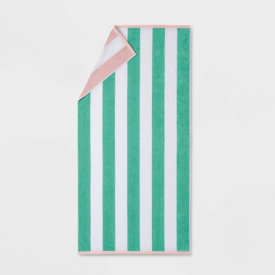 Reversible Cabana Striped Beach Towel Mint/Pink - Sun Squad™