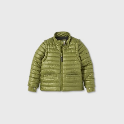 Toddler Boys' Adaptive Puffer Jacket - Cat & Jack™ Olive Green