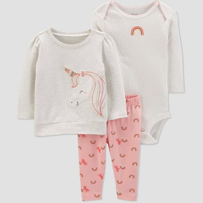 Baby Girls' 3pc Unicorn Crew Neck Top & Bottom Sets - Just One You® made by carter's Gray/White/Peach 3M