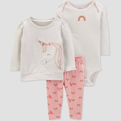 Baby Girls' 3pc Unicorn Crew Neck Top & Bottom Sets - Just One You® made by carter's Gray/White/Peach