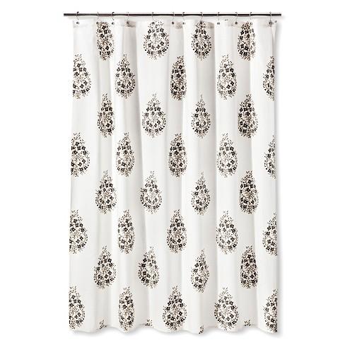 Shower Curtain Green White Paisley