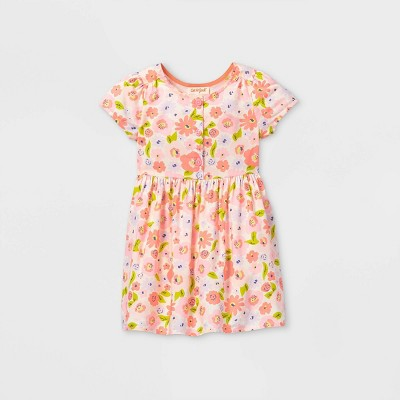 Toddler Girls' Floral Button-Front Short Sleeve Dress - Cat & Jack™ Pink
