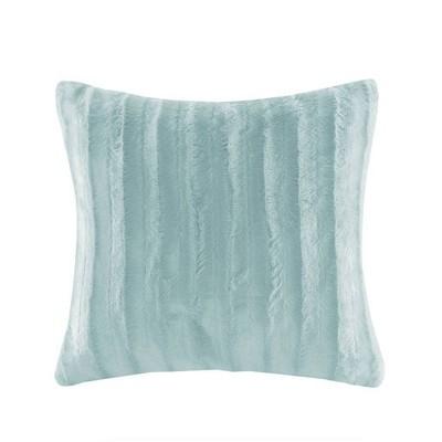 York Faux Fur Square Pillow Blue