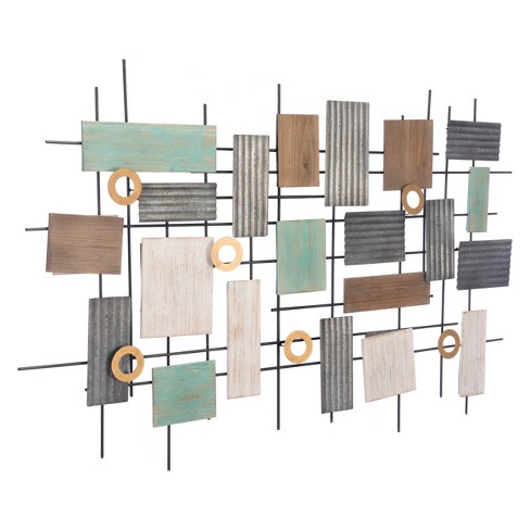 "ZM Home 47"" Rustic Rectangular Wall Sculpture - image 1 of 2"