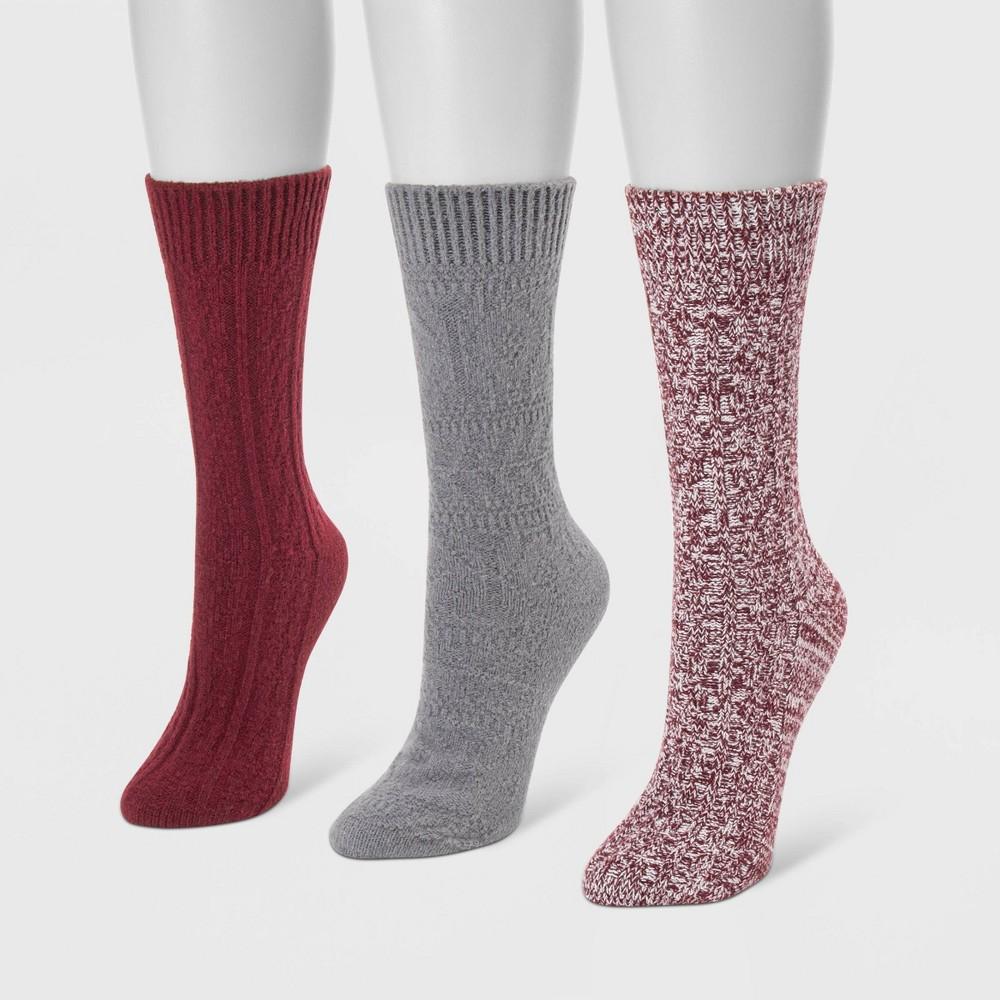 Image of MUK LUKS Women's 3pk Boot Socks - Red One Size, Women's