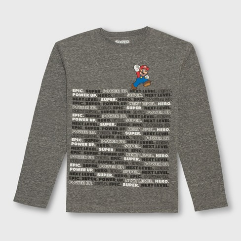 Boys' Mario Word Stack Long Sleeve Graphic T-Shirt - Heather Gray S - image 1 of 2