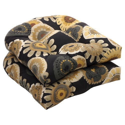Outdoor 2-Piece Wicker Chair Cushion Set - Black/Yellow Floral, Black Yellow