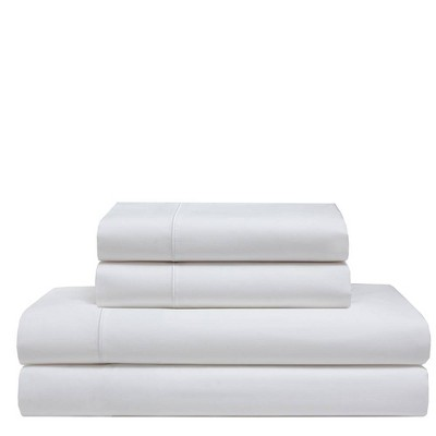 Queen 525 Thread Count Solid Cooling Cotton Sheet Set White - Elite Home Products