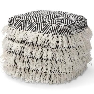 Alian Handwoven Wool Tassel Pouf Ottoman Black/Ivory - Baxton Studio
