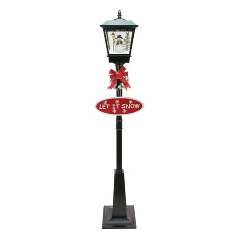 "Northlight 70.75"" Black Lighted Musical Snowman Vertical Snowing Christmas Street Lamp - image 1 of 2"