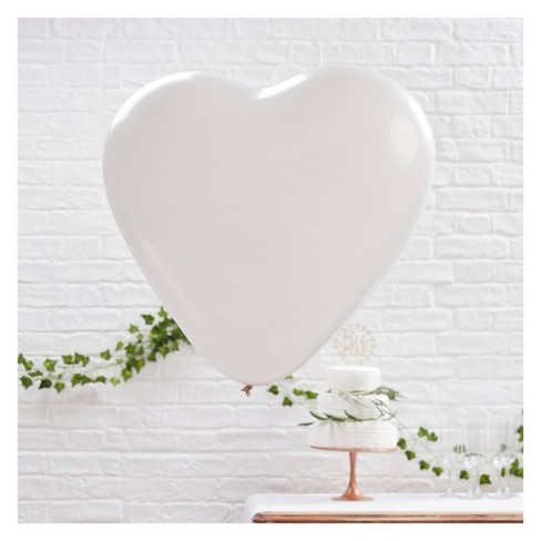 3ct Large Heart Pattern Balloons White - image 1 of 4